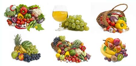 nutriments: El grupo de verduras y frutas aisladas en blanco