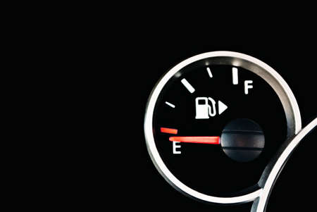 gas gauge: Set of car dash boards petrol meter, fuel gauge, on black background Stock Photo