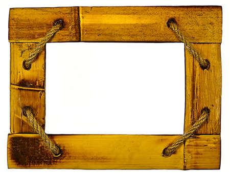 Vintage picture frame, wood plated, white background photo