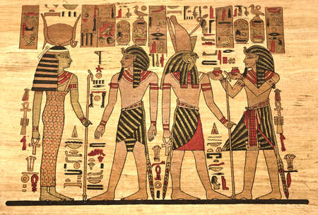 ancient egyptian culture: Egypt Papyrus with elements most prominent of the antique Egypt Stock Photo