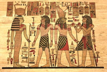 louxor: Egypte Papyrus avec des �l�ments les plus importants de l'Egypte antique