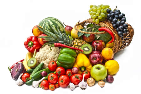 nutriments: The group of vegetables and fruits in bascet on white background