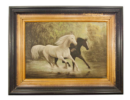 Tne picture Two horses in old frame, vintage, isolated on white