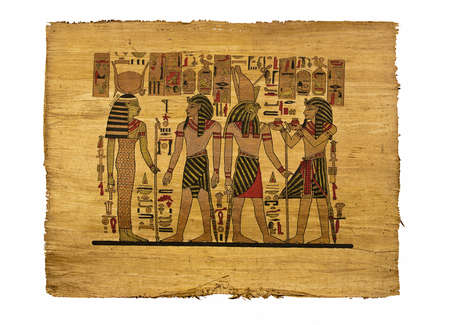 The image of eguptian pharaons on papyrus, vintage, isolated on white