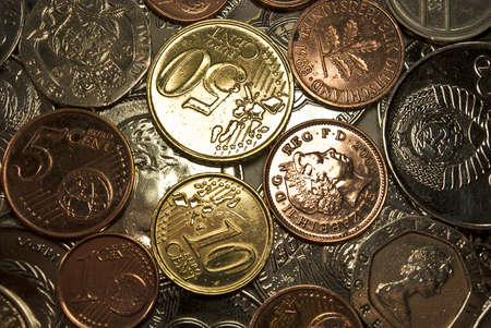 Coins made in Europe, close up photo