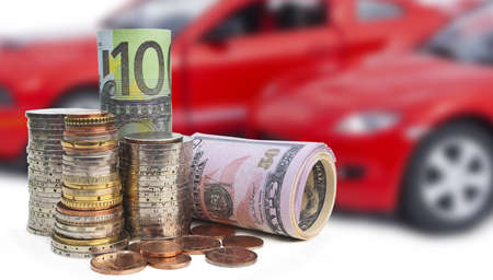 Money against a background of res cars Stock Photo - 13100595