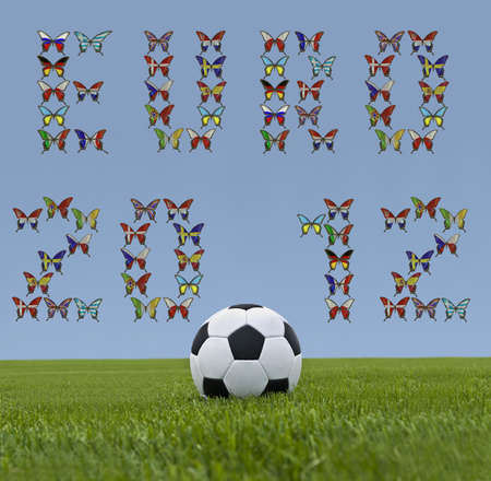 Soccer ball in green grass and butterflys with European flags