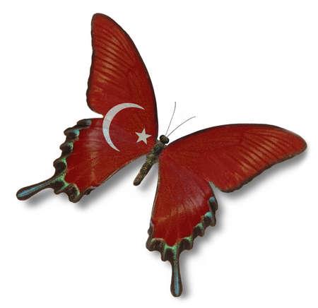Drapeau turc sur papillon isolé sur blanc