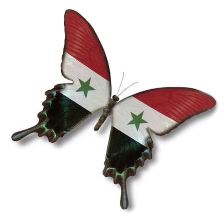 syria: Syria flag on butterfly isolated on white