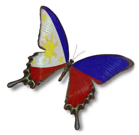 manila: Philippines flag on butterfly isolated on white