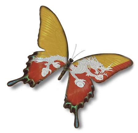 butane: Bandera de butano de la mariposa aisladas en blanco Foto de archivo