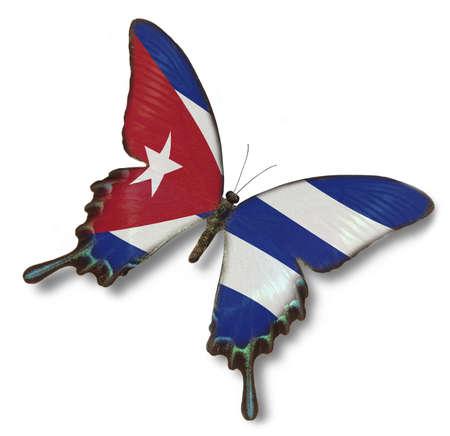 bandera cuba: La bandera de Cuba sobre la mariposa aisladas en blanco Foto de archivo