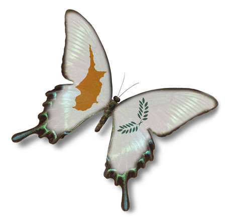 Cyprus flag on butterfly isolatedc on white