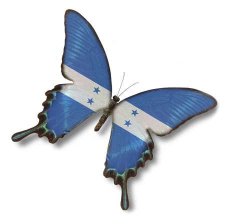 bandera honduras: Bandera de Honduras sobre la mariposa aisladas en blanco