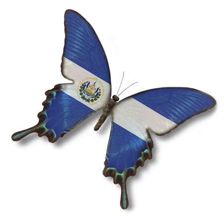bandera de el salvador: Bandera de El Salvador sobre la mariposa aisladas en blanco Foto de archivo