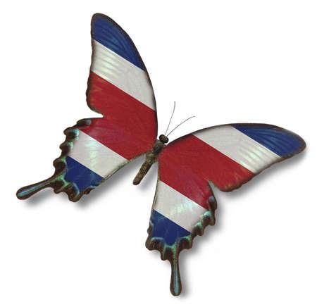 Costa Rica vlag op vlinder op wit wordt geïsoleerd