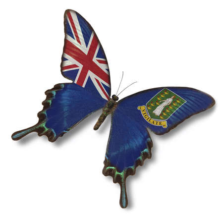 British Virgin Islands flag on butterfly isolated on white photo