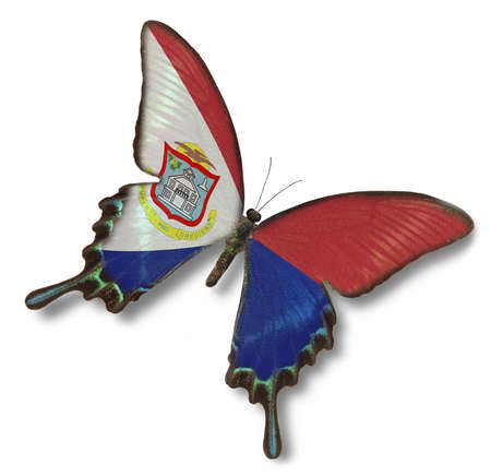 sint: Sint Maarten flag on butterfly isolated on white
