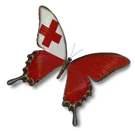 Tonga flag on butterfly isolated on white