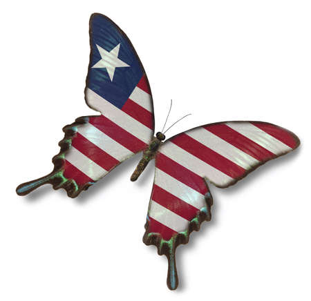 liberia: Liberia flag on butterfly isolated on white