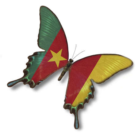 Cameroon flag on butterfly isolated on white Stock Photo - 14032176