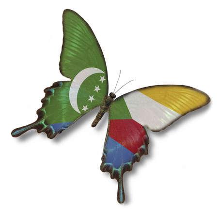 comoros: Comoros flag on butterfly isolated on white Stock Photo