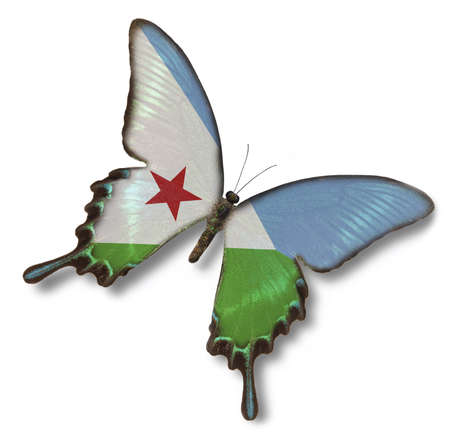 Djibouti flag on butterfly isolated on white