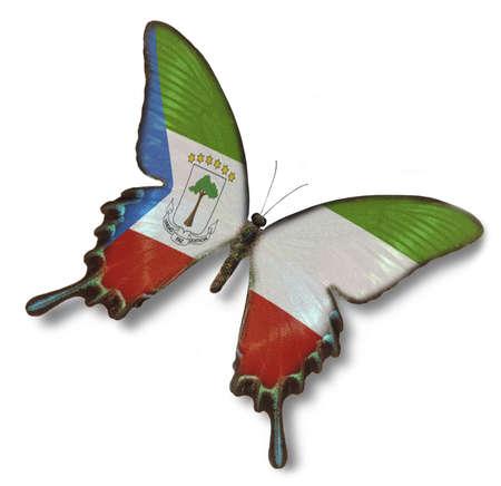 Equatiorial bandera de Guinea en la mariposa, aislado en blanco Foto de archivo