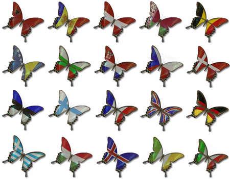 Collage fron Europese vlaggen op vlinders op wit wordt geïsoleerd Stockfoto