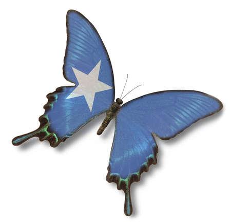 somalia: Somalia flag on butterfly isolated on white