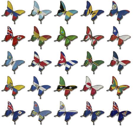 bandera bolivia: Collage de Tecnolog�a Ion banderas de Estados Unidos sobre las mariposas aisladas en blanco Foto de archivo