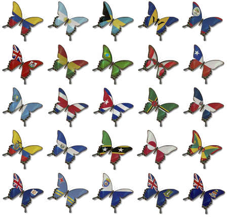 Collage de Tecnolog�a Ion banderas de Estados Unidos sobre las mariposas aisladas en blanco photo