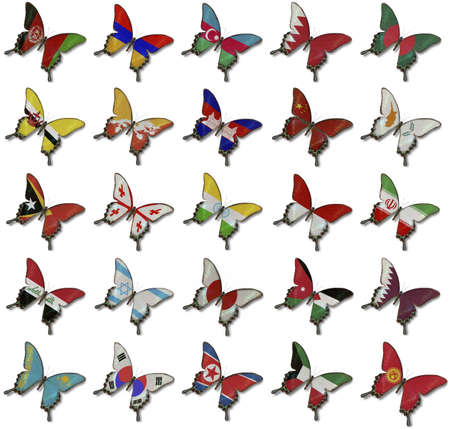 Collage from Asian flags on butterflies photo