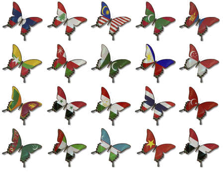 sri lanka flag: Collage fron Asian flags on butterflies isolated on white