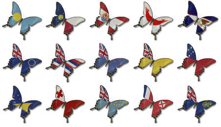 Collage fron Australia and Oceania flags on butterflies isolated on white photo