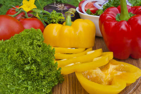 Preparing vegetables in garden on picnic photo