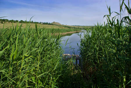 riverside landscape: Riverside landscape in the village, Ukraine Stock Photo