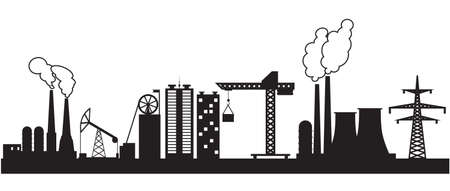 coal mining: Eight urban and industrial buildings. Vector illustration