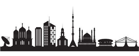 Nine urban and religious buildings. Vector illustration Vector