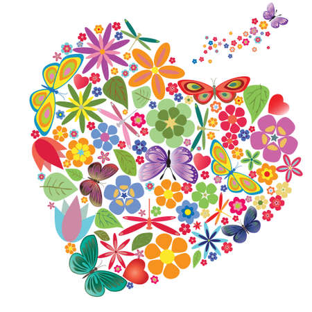 Holiday heart with flowers and butterflies. Vector illustration Vector