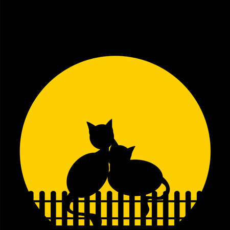 cartoons outline: Blach silhouette cats against moon. Vector illustration