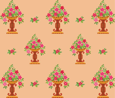 Vase pink flowers seamless  wallpaper   Vector illustration Vector