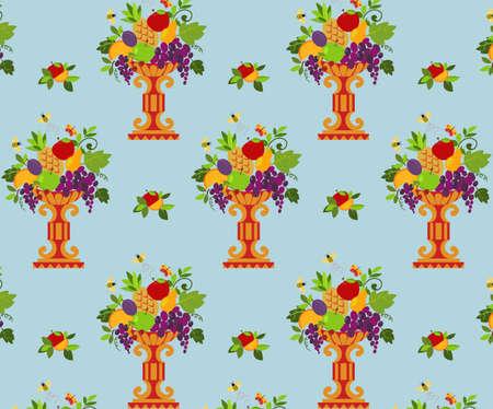 vase color: Vase color fruits seamless  wallpaper  Vector illustration