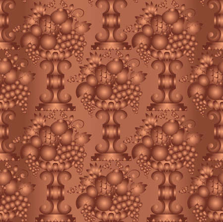 Vase gold fruits seamless  wallpaper , linear  Vector illustration Vector