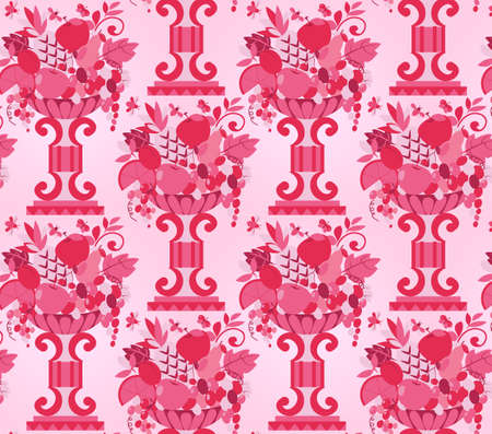 Vase pink fruits seamless  wallpaper  Vector illustration Vector