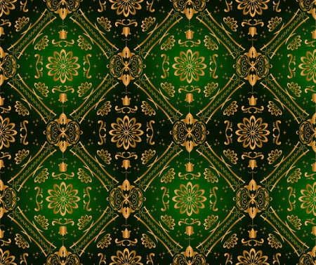 green wallpaper: Retro green wallpaper. Seamless. Vector illustration