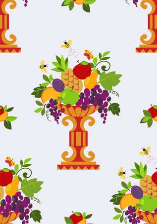 Vase color fruits seamless (wallpaper).Vector illustration