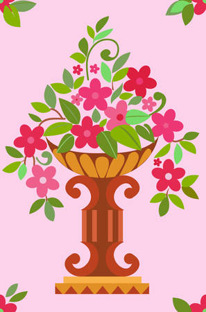 Vase pink flowers seamless (wallpaper). Vector illustration Vector