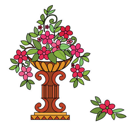 Vase pink flowers. Vector illustration Vector