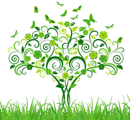 Green lace tree with butterflies. Vector illustration Vector